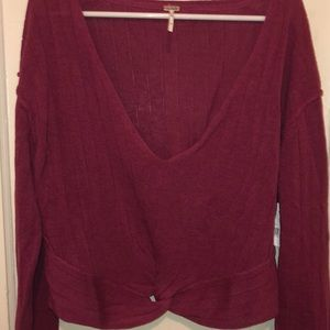 Free People cropped knot front sweater